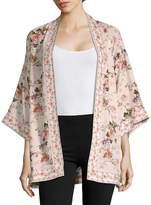 Max Studio Women's Floral Three-Quarter Kimono