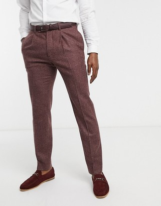 ASOS DESIGN slim suit trousers in burgundy and grey 100% lambswool puppytooth