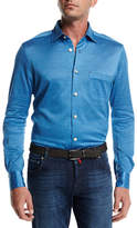 Kiton Long-Sleeve Knit Cotton Shirt, Blue