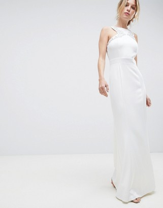 Little Mistress Racer Neck Maxi Dress With Embellished Detail And Open Back