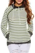 Kalin L Women Funnel Neck Thumb Holes Zip Detail Pullover Pocket Hooded Sweatshirt