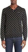 Comme des Garcons Men's Dot Pattern V-Neck Sweater