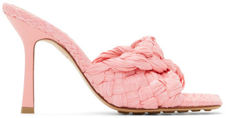 Bottega Veneta Pink Raffia Stretch Heeled Mules