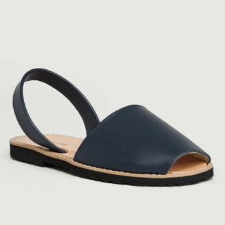 Minorquines - Navy Blue Classic Avarca Sandals - 36 | leather | navy blue - Navy blue