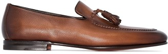 Santoni Tassel-Trimmed Leather Loafers