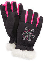 London Fog Girls' Studded Snowflake Gloves with Faux Fur Trim