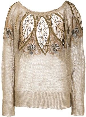 A.N.G.E.L.O. Vintage Cult 1980s Flower-Embroidered Knitted Blouse