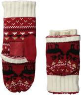 Isotoner Women's Sherpasoft Kissing Moose Fairisle Flip Top Mitten with Suede Palm Patch