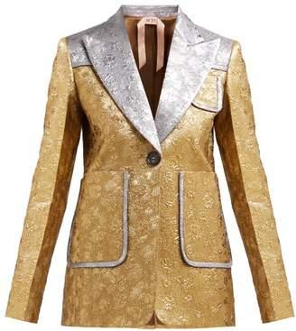 No.21 No. 21 - Single-breasted Floral Brocade Jacket - Womens - Gold
