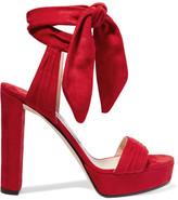 Jimmy Choo Kaytrin Suede Platform Sandals - Red