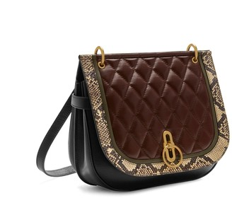Mulberry Amberley Satchel Burgundy, Rosewater and Clay Quilted Smooth Calf and Snakeskin