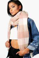 boohoo Hannah Checked Brushed Blanket Scarf