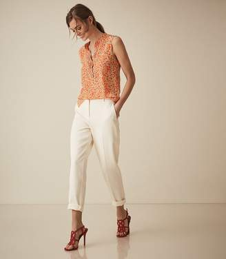 Reiss Cecily Print - Silk Button Detail Top in Coral