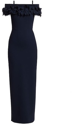 Catherine Regehr Grace Off-The-Shoulder Ruffle Collar Gown