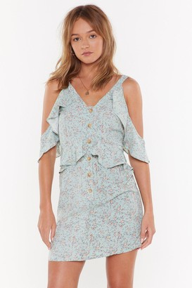 Nasty Gal Womens Let Grow of the Past Floral Cold Shoulder Dress - green - 10