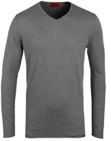 Hugo Scoop Grey Marl Silk Cashmere Sweater