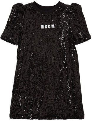 MSGM Sequined Dress W/ Logo Patch