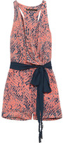 Vix Layla Snake-print Voile Playsuit - Peach