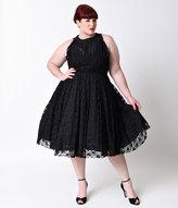 Unique Vintage Plus Size 1940s Black Lace Sleeveless Roosevelt Swing Dress