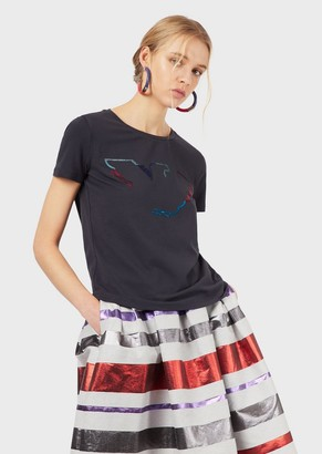 Emporio Armani Jersey T-Shirt With Eagle Embroidery And Sequins