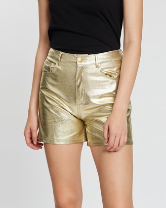 LENNI the label - Women's Gold Leather shorts - Astral Shorts - Size One Size, L at The Iconic