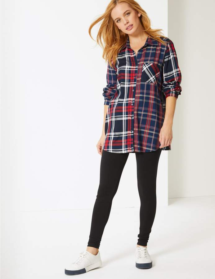 Marks and Spencer PETITE Checked Longline Long Sleeve Shirt