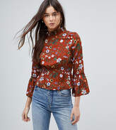 Parisian Tall High Neck Floral Printed Blouse