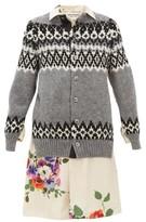 Junya Watanabe Wool And Floral-print Satin-panelled Cardigan - Womens - Grey Multi
