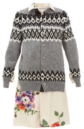 Junya Watanabe Wool And Floral-print Satin-panelled Cardigan - Grey Multi