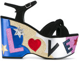 Saint Laurent Candy 50 Love sandals - women - Cotton/Leather/Suede/rubber - 36