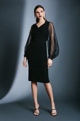 Karen Millen Structured Crepe Blouson Sleeve Bar Belt Dress
