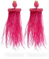 Oscar de la Renta Feather-embellished tassel-drop clip-on earrings
