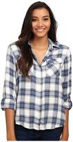 Sam Edelman Riley Plaid Split Back Blouse with Zipper Detail
