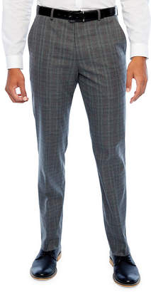 Jf J.Ferrar Big and Tall Checked Classic Fit Stretch Suit Pants