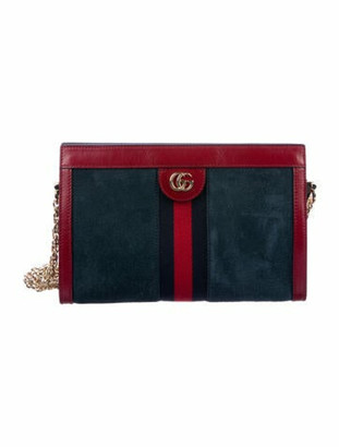 Gucci Small Suede Ophidia Shoulder Bag Navy