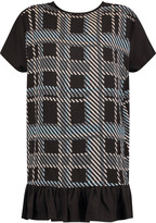 Markus Lupfer Printed crepe-paneled cotton-jersey top
