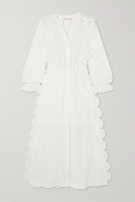 Maje Crocheted Lace-trimmed Broderie Anglaise Cotton-voile Midi Dress - White