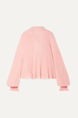 Ulla Johnson Clover Ruffled Pussy-bow Cashmere-blend Open-back Sweater - Baby pink
