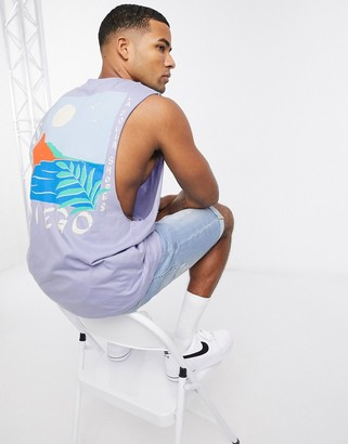 ASOS DESIGN sleeveless t-shirt with dropped armhole and large back sunset print