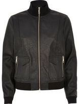 River Island Womens Black leather-look funnel neck bomber jacket