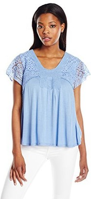 One World ONEWORLD Women's Lace Short Sleeve Solid Knit Top