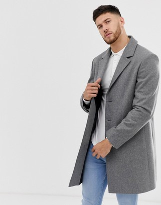 ASOS DESIGN wool mix overcoat in light gray