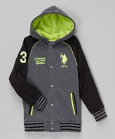 U.S. Polo Assn. Charcoal & Lime Hooded Varsity Jacket - Boys