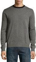 Neiman Marcus Colorblock Crewneck Sweater, Flint