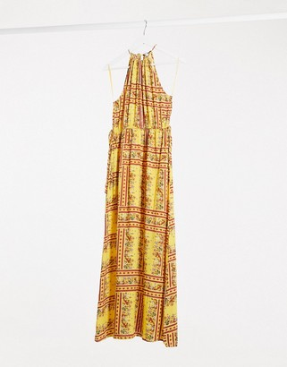 Gilli halterneck maxi dress in floral placement print