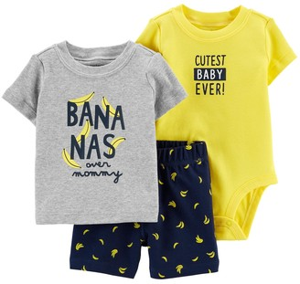 Carter's Baby Boy Bananas Bodysuit, Tee & Shorts Set