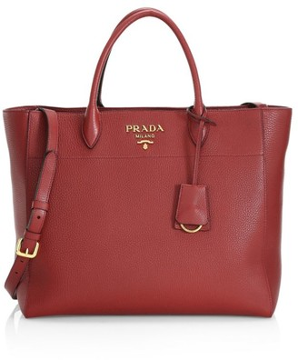 Prada Vitello Daino Striped Strap Leather Tote Bag