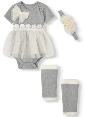 Miniville Baby Girl Short Sleeve Tulle Skirt Bodysuit, Leg Warmers & Headband, 3-Piece Outfit Set