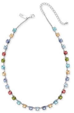"""INC International Concepts Inc Silver-Tone Multicolor Crystal Collar Necklace, 17"""" + 3"""" extender, Created for Macy's"""