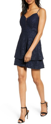 Speechless Tiered Shimmer Lace Skater Dress